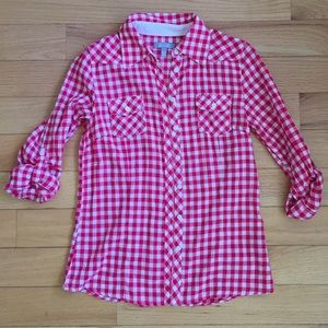 Red Gingham Button Down Blouse